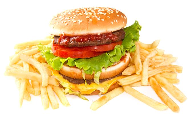 hamburger with potatoes isolated on white background